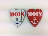 Herz Magnete Holz 2 Stück Moin Anker rot Herzmagnet Holzmagnet Magnetset