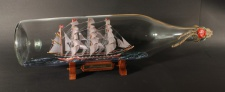 Kruzenstern 3 Liter runde Asbach - Flasche Buddelschiff Flaschenschiff