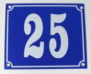 Hausnummernschild Aluminium Aluschild 1 mm Stärke Alu Schild Nr. 25 blau