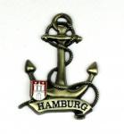 Magnet Anker Tau Messing Gold Hamburg Banderole Wappen Souvenir Mitbringsel G...