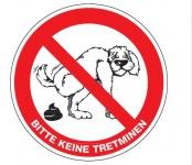 Aluminium Schild Hund Bitte keine Tretminen 200 mm rund geprägt