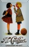 Blechschild Cailler Chocolat au Lait 2 Kinder retro Schild Werbeschild