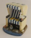 Strandkorb Deko blau weiß 12 cm