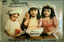 Blechschild Knorr Suppen Tafeln 3 Kinder Suppenterrine retro Schild