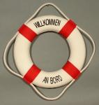 Rettungsring Deko rot 15cm Willkommen an Bord