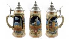 Bierkrug Hamburg 3 Bilder 19cm mit Zinndeckel Bierseidel Humpen