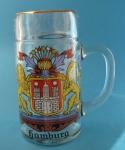 Maaßkrug aus Glas mit Hamburg Löwen Wappen 1 Liter Bierseidel