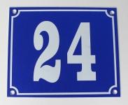 Hausnummernschild Aluminium Aluschild 1 mm Stärke Alu Schild Nr. 24 blau