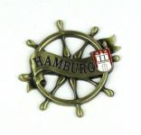 Magnet Steuerrad Tau Messing Gold Hamburg Banderole Wappen Souvenir Mitbrings...