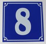 Hausnummernschild Aluminium Aluschild 1 mm Stärke Alu Schild Nr. 8 blau