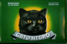Blechschild Gato Negro Katze grün Kater Schild Wein A rgentinien Nostalgieschild