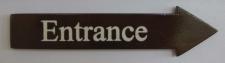 Türschild Entrance dunkles Holz Pfeilform 3, 5x15 cm