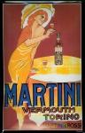 Blechschild Martini Vermouth Aperitif (3) Lady mit Tisch Schild retro Reklame