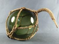 Deko Fischerkugel aus Glas grün 10 cm Tauwerk Netz