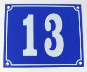 Hausnummernschild Aluminium Aluschild 1 mm Stärke Alu Schild Nr. 13 blau