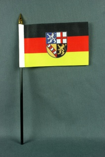 Kleine Tischflagge Saarland 10x15 cm optional mit Tischfähnchenständer - Vorschau 2