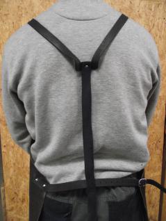 Große, dicke Spaltlederschürze, als Schweißerschürze, Schmiedeschürze, Arbeitsschürze, - echte Lederschürze - 80x100 - stabile Riemen - Vorschau 2