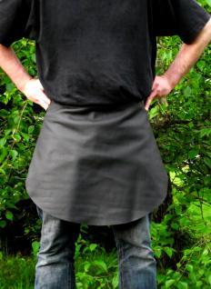 Echt Leder Grillschürze Zapferschürze schwarz, Schurzfell mit Tasche Lederschürze
