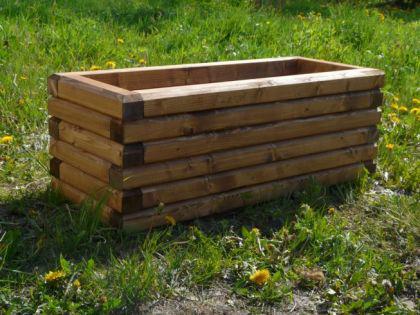 Massiver Holz Pflanzkasten Maße 120x40x40 cm lasiert in Nussbaum SchwibboLa