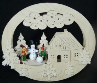 Doppeltes Fensterbild Schneemannbauen