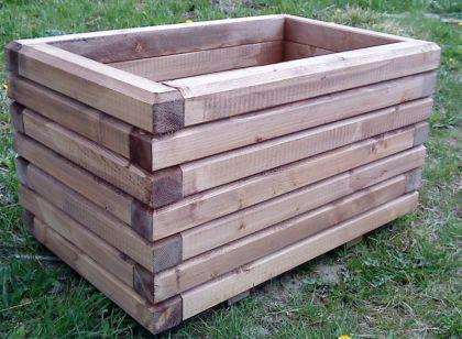 Massiver Holz Pflanzkasten Maße 140x40x40 cm lasiert in Kastanie SchwibboLa