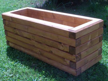 Massiver Holz Pflanzkasten Maße 80x40x40 cm lasiert in TEAK SchwibboLa