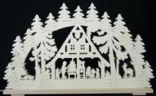 Schwibbogen Waldhaus mit Bäumen