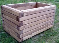 Massiver Holz Pflanzkasten Maße 100x40x40 cm lasiert in Kastanie SchwibboLa