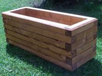 Massiver Holz Pflanzkasten Maße 120x40x40 cm lasiert in TEAK SchwibboLa