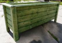 Holz Pflanzkasten Maße 100x40x40 cm CLASSIC lasiert Tannengrün SchwibboLa