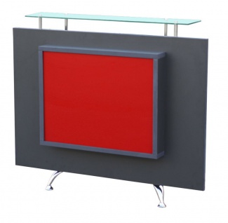 1462 Rezeption Korpus schwarz Frontplatte anthrazit, Acrylplatte rot mit LED-Bac