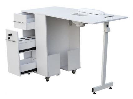 2066 Raumspar-Manikürtisch mit Absaugung weiß, Tischplatte klappbar - Vorschau 5