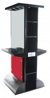 2027 Spiegel AOSTA doppelseitig mit LED, Schleiflack schwarz 90cm Höhe