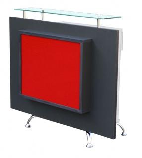 1462 Rezeption Korpus weiß Frontplatte anthrazit Acrylplatte rot mit LED-Back...