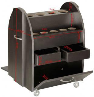 2063 Beistellwagen mit 14 runden Öffnungen, Schubladen, schwarz - Vorschau 2