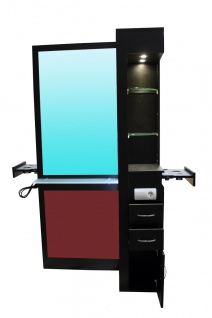 2021 Spiegel TAVIANO doppelseitig schwarz, Acryl rot, mit LED