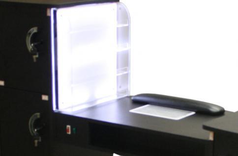 1920 Maniküretisch m. Absaugung und LED-Rack Laminat schwarz - Vorschau 3