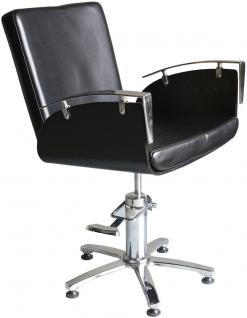 EINZELSTÜCK 1378 Friseurstuhl ARCO Holz schwarz/PVC schwarz B2 0218