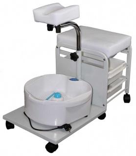 1048 Fusspflegeschemel weiß mit Becken
