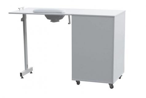 2066 Raumspar-Manikürtisch mit Absaugung weiß, Tischplatte klappbar - Vorschau 2
