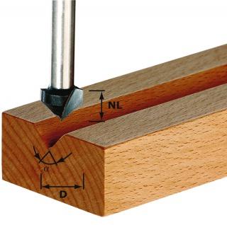 FESTOOL V-Nutfräser HS Schaft 8 mm - Verschiedene Winkelgrößen