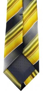 schmale TigerTie Designer Krawatte in gelb gold silber anthrazit grau gestreift - Vorschau 4