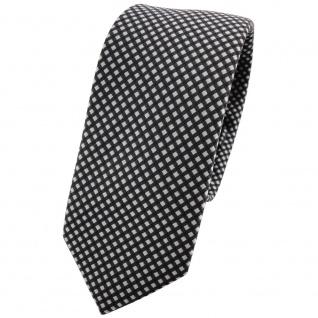Schmale TigerTie Krawatte anthrazit silber gepunktet - Schlips Binder Tie