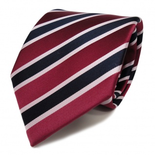 TigerTie Seidenkrawatte rot karminrot blau silber rosa gestreift - Krawatte