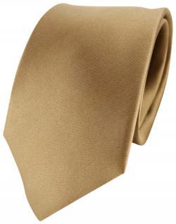 TigerTie Designer Satin Seidenkrawatte in gold Uni - Krawatte Seide Silk Tie
