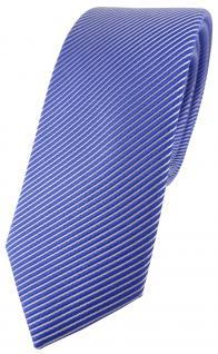 schmale TigerTie Desinger Seidenkrawatte in blau signalblau silber gestreift