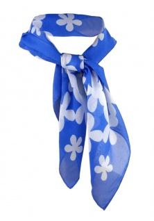 Nickituch Chiffon blau weiss mit Blumenmuster - Gr. 50 x 50 cm - Tuch Halstuch