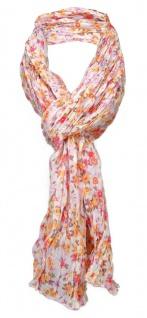 gecrashter Schal orange rosa rot beige gelb mit Blumenmuster - Gr. 180 x 50 cm