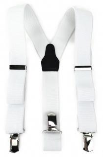 TigerTie Unisex Hosenträger mit 3 extra starken Clips - weiß Uni