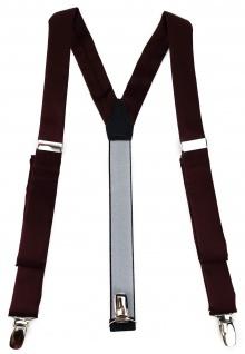 schmaler TigerTie Unisex Hosenträger mit 3 extra starken Clips - in weinrot Uni